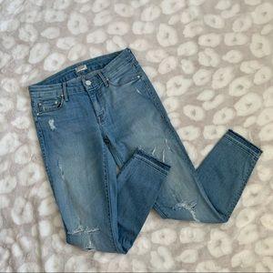 MOTHER Undone Hem Looker Crop Jeans Size 27